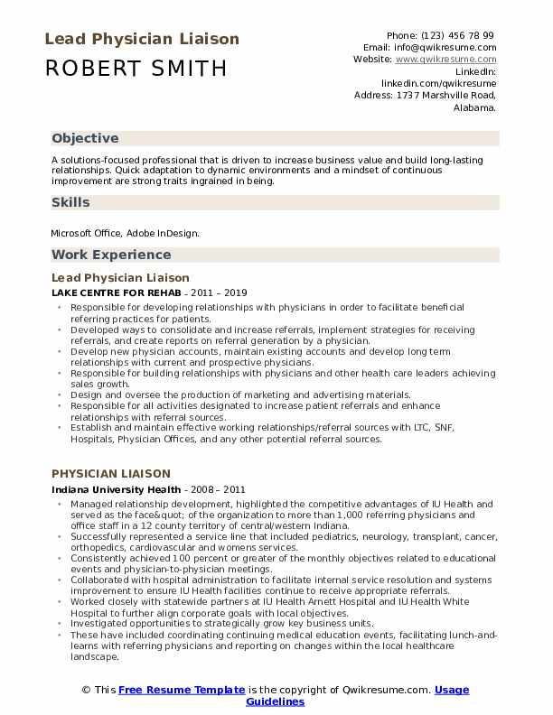 Lead Physician Liaison Resume Template