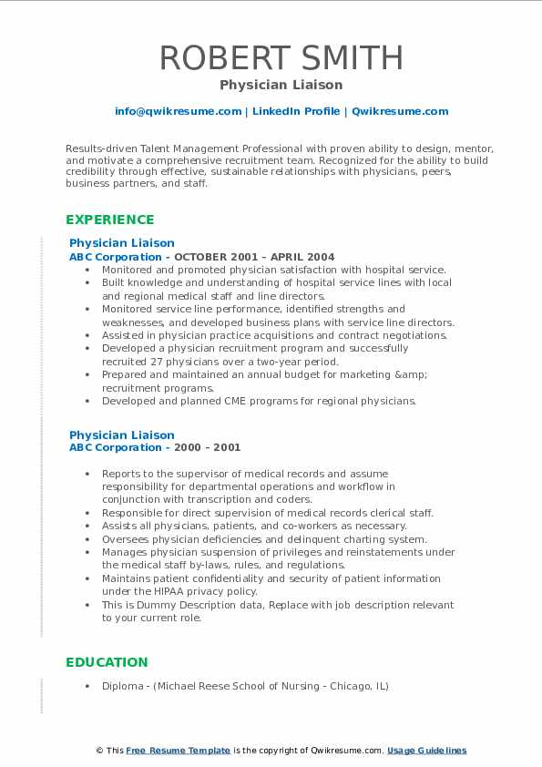Physician Liaison Resume example