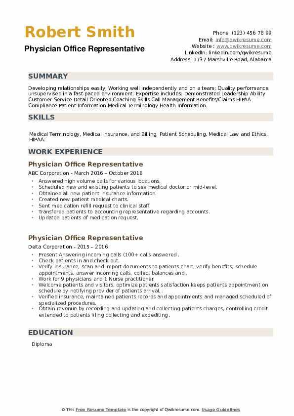 Physician Office Representative Resume example
