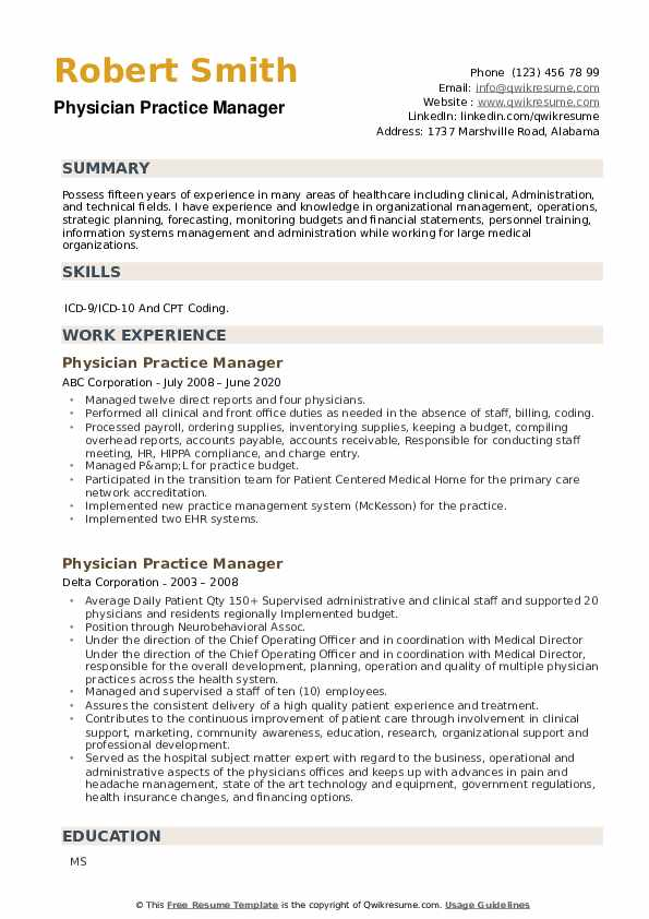 Physician Practice Manager Resume example