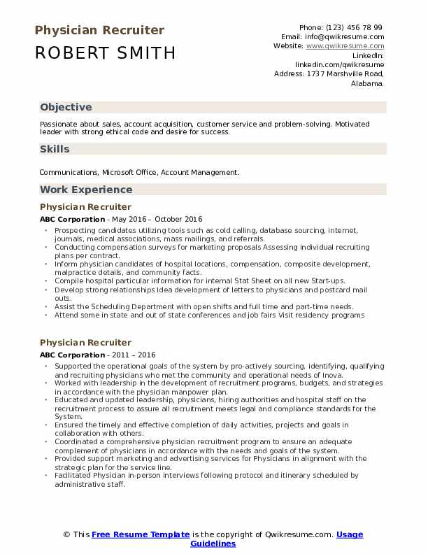 Physician Recruiter Resume Model