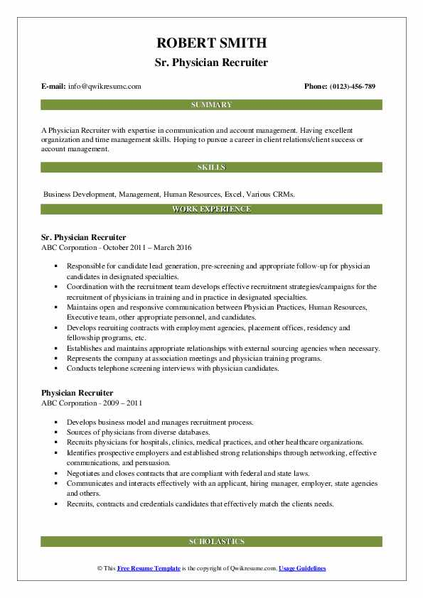 Sr. Physician Recruiter Resume Example