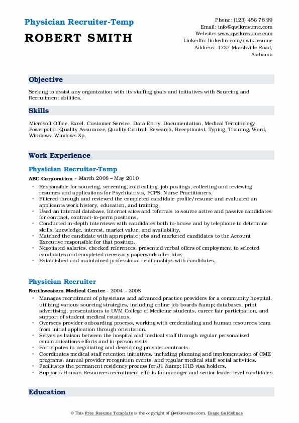 Physician Recruiter-Temp Resume Format