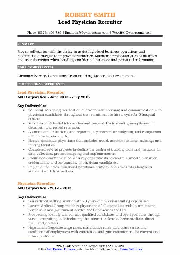 Lead Physician Recruiter Resume Template