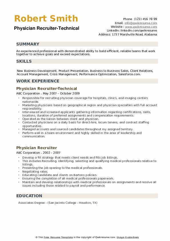 Physician Recruiter-Technical Resume Format