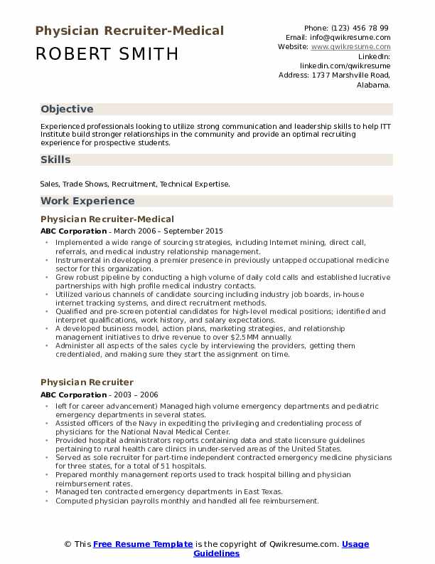 Physician Recruiter-Medical Resume Template