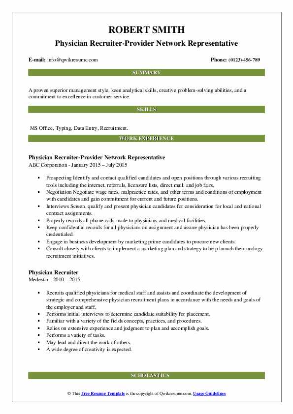 Physician Recruiter-Provider Network Representative Resume Sample