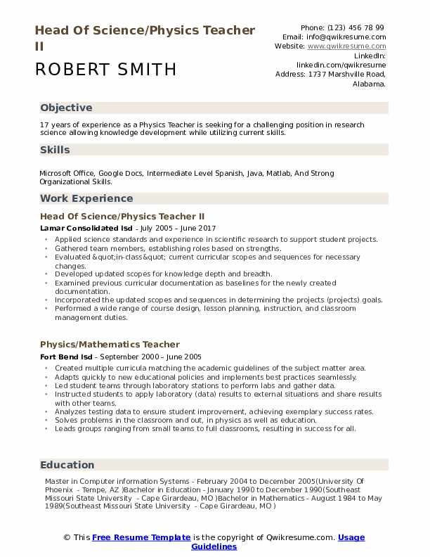 Head Of Science/Physics Teacher II Resume Example