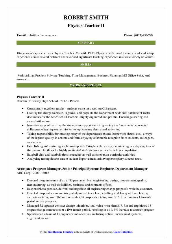 Physics Teacher II Resume Format