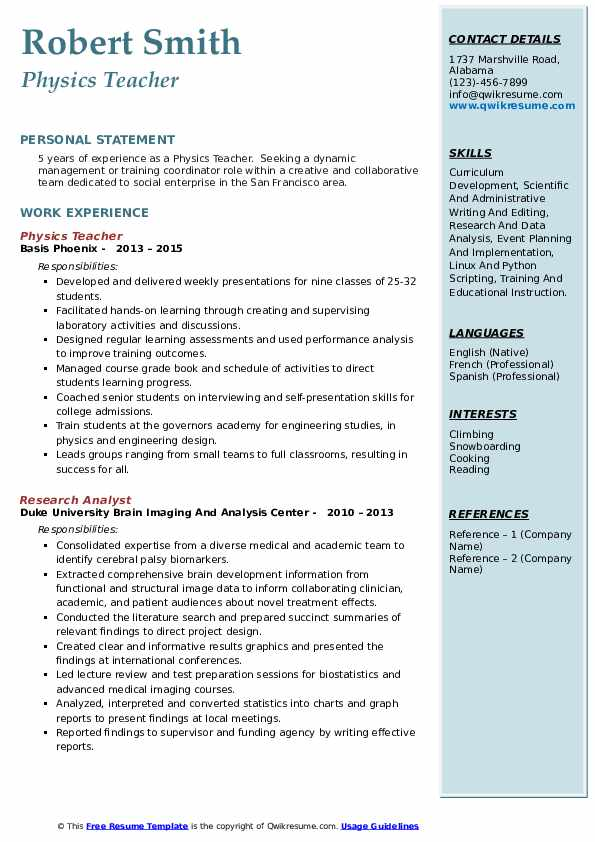 physics teacher resume samples