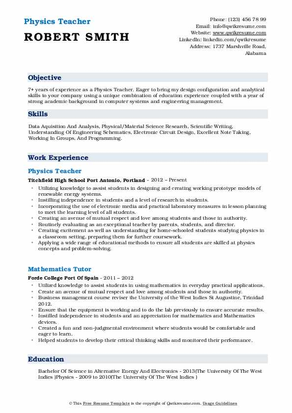 Physics Teacher Resume Template