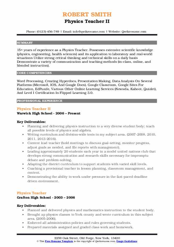 Physics Teacher II Resume Model