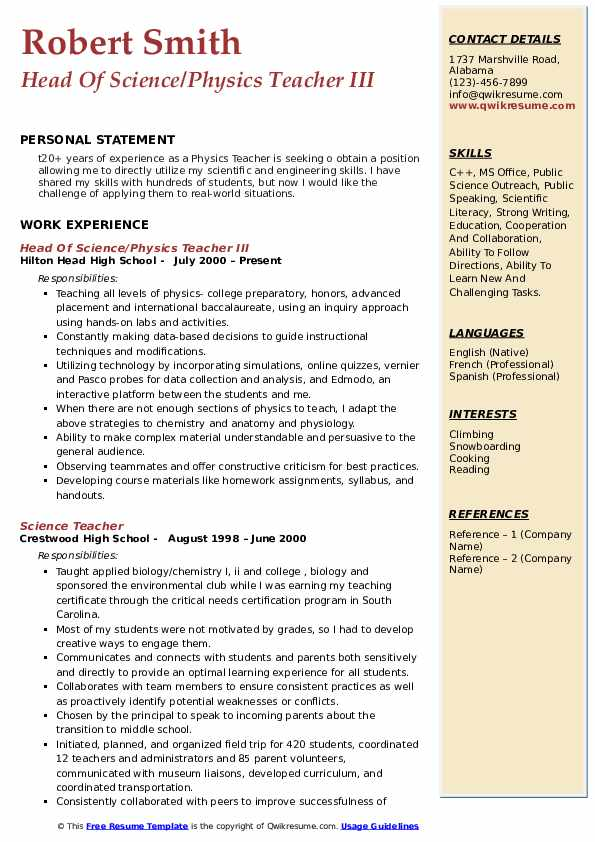 Head Of Science/Physics Teacher III Resume Format