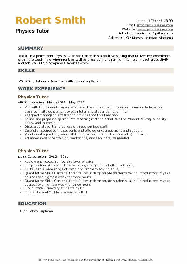 Physics Tutor Resume example
