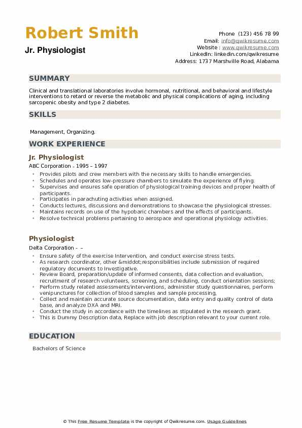 Physiologist Resume example