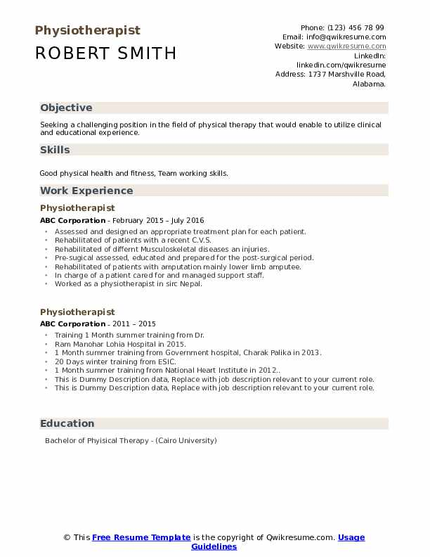 Physiotherapist Resume example