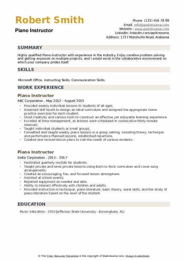 Piano Instructor Resume example