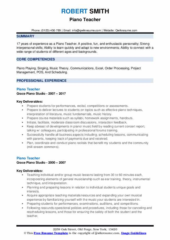 Piano Teacher Resume Template