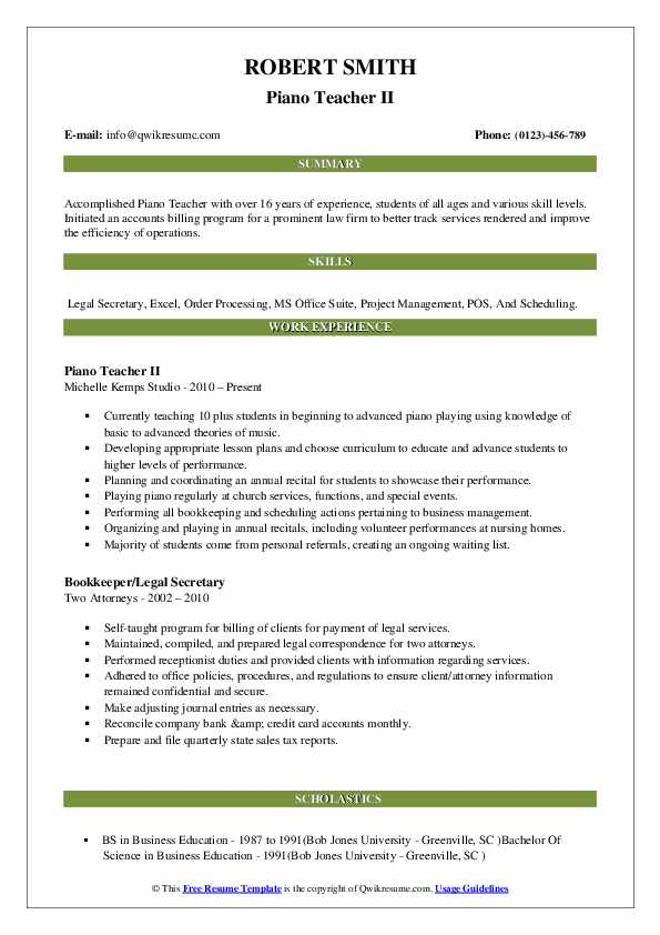 Piano Teacher II Resume Format