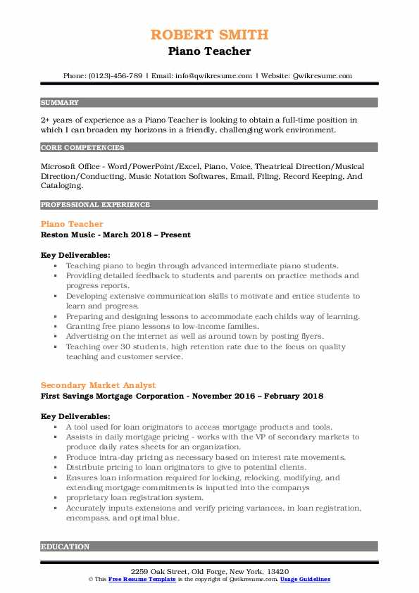 Piano Teacher Resume Model