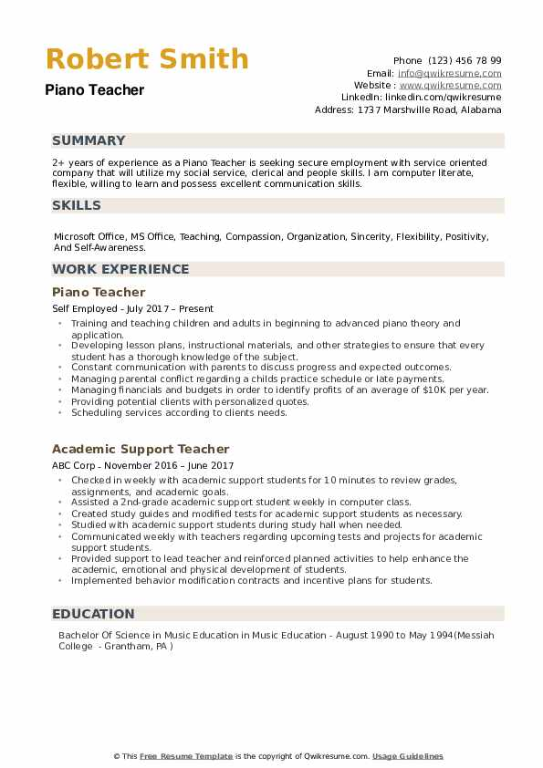 Piano Teacher Resume example