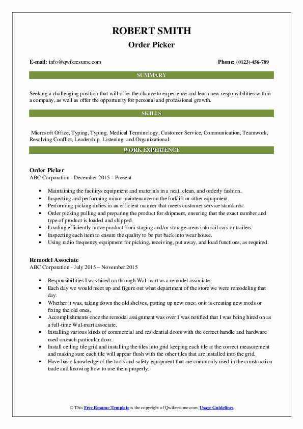 Picker Resume Samples Qwikresume