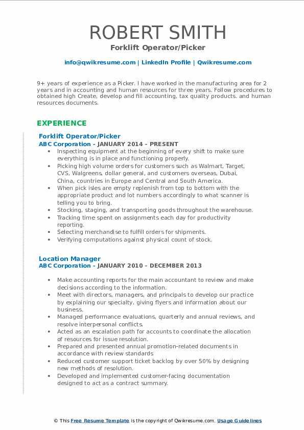 Forklift Operator/Picker Resume Format