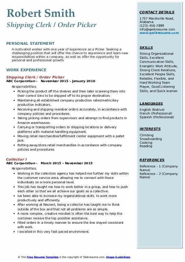 Shipping Clerk / Order Picker Resume Sample