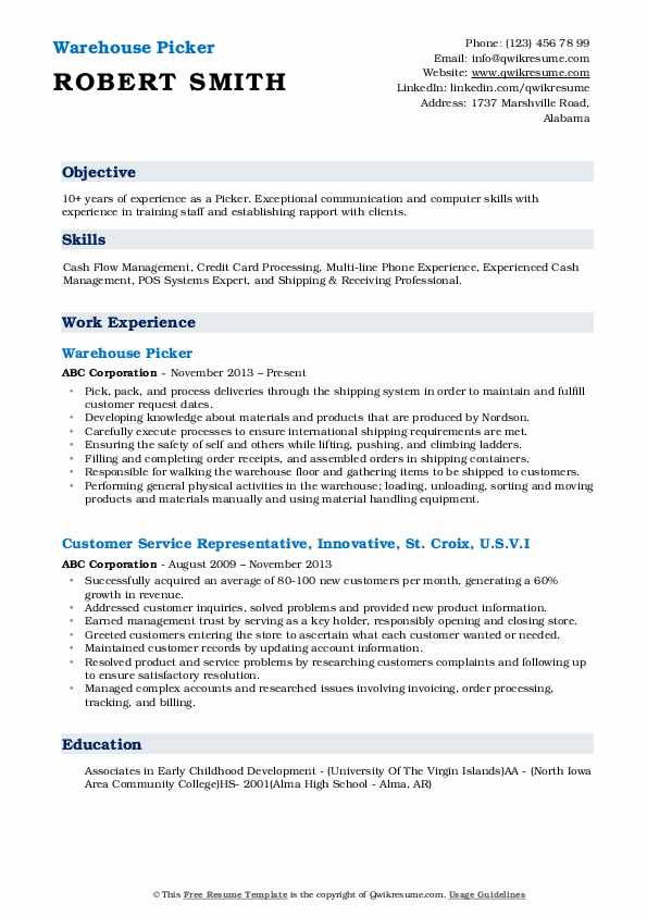 picker resume samples
