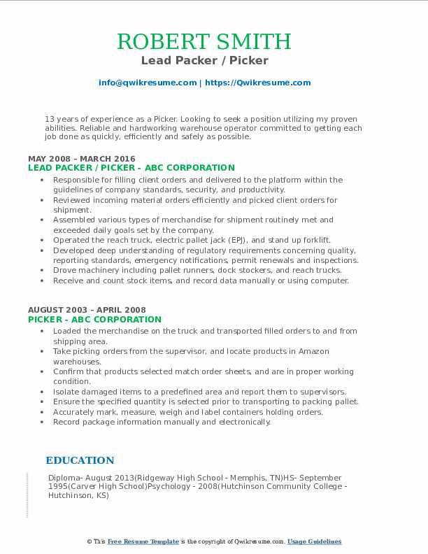 Lead Packer / Picker Resume Sample