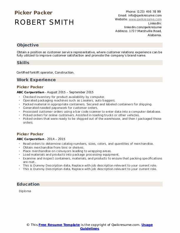 Picker Packer Resume example