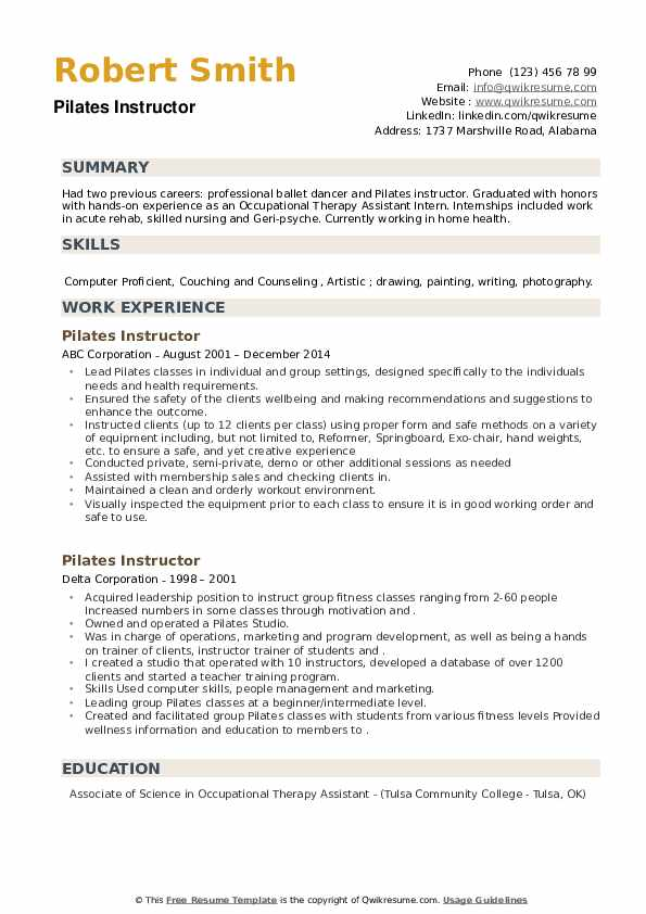 Pilates Instructor Resume example