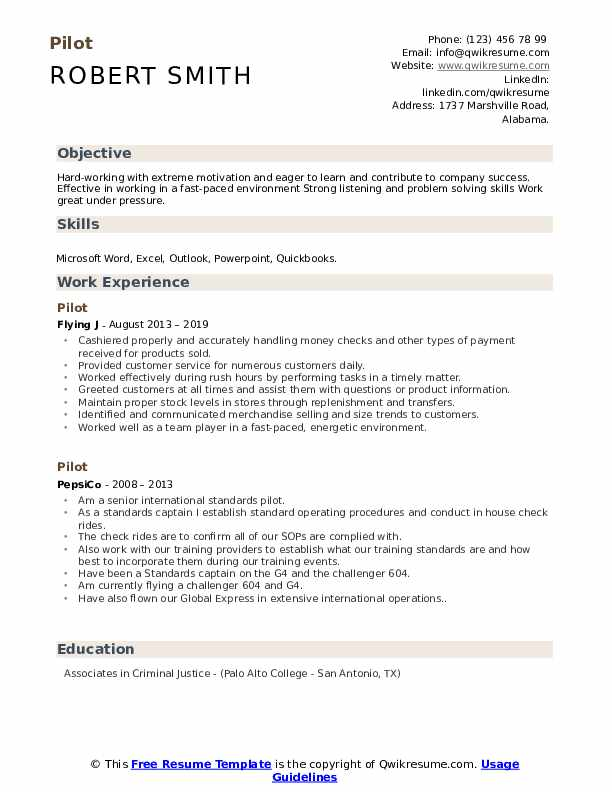 Pilot Resume Samples | QwikResume