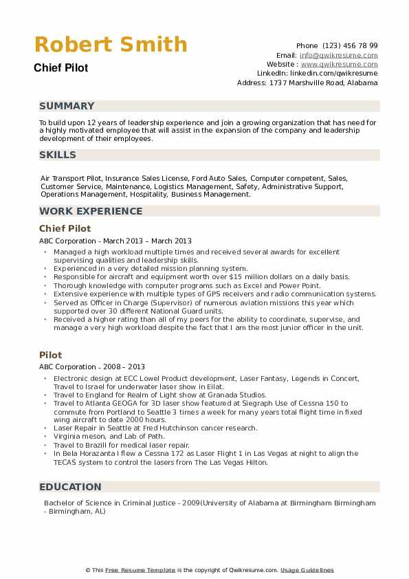 Chief Pilot Resume Model