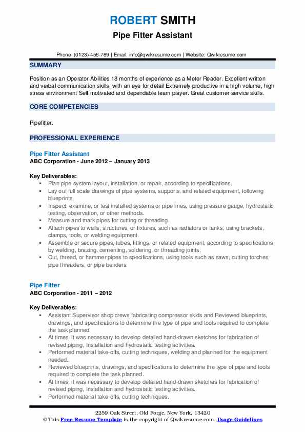 Pipe Fitter Assistant Resume Sample