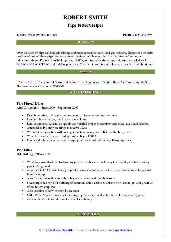 Pipe Fitter/Helper Resume Sample
