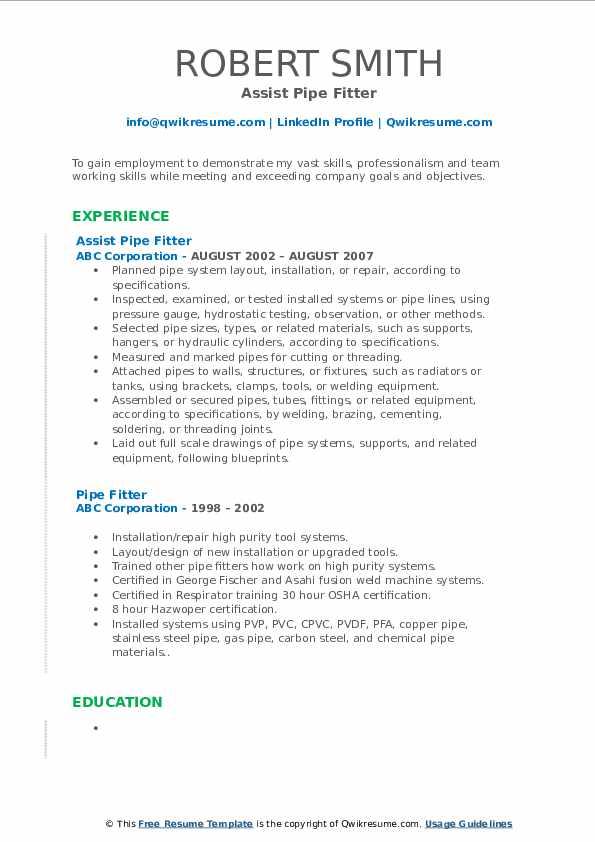 Assist Pipe Fitter Resume Model