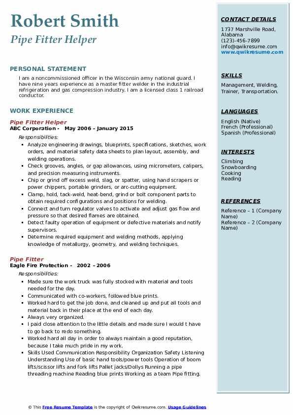 Pipe Fitter Helper Resume Example