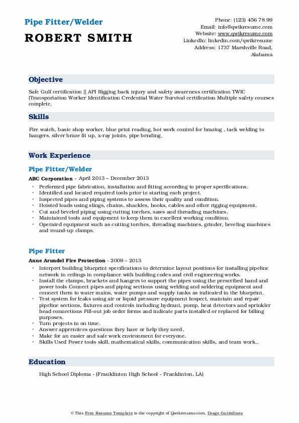 Pipe Fitter/Welder Resume Template