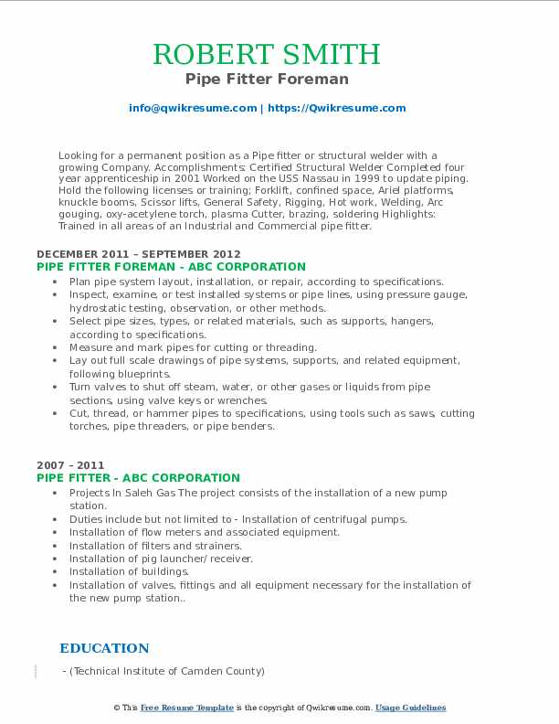 Pipe Fitter Foreman Resume Example