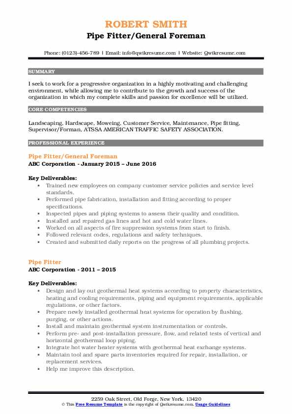 Pipe Fitter/General Foreman Resume Model