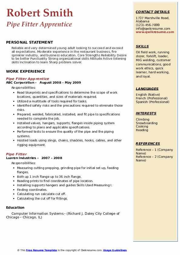 Pipe Fitter Apprentice Resume Format