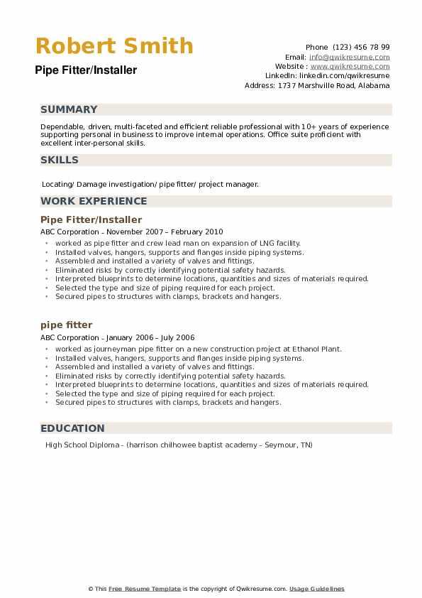 Pipe Fitter/Installer Resume Sample