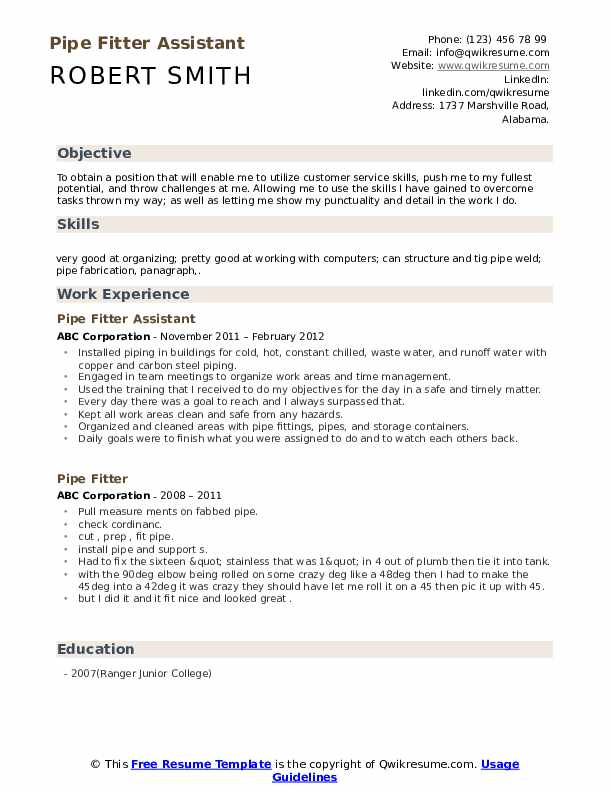 Pipe Fitter Assistant Resume Template
