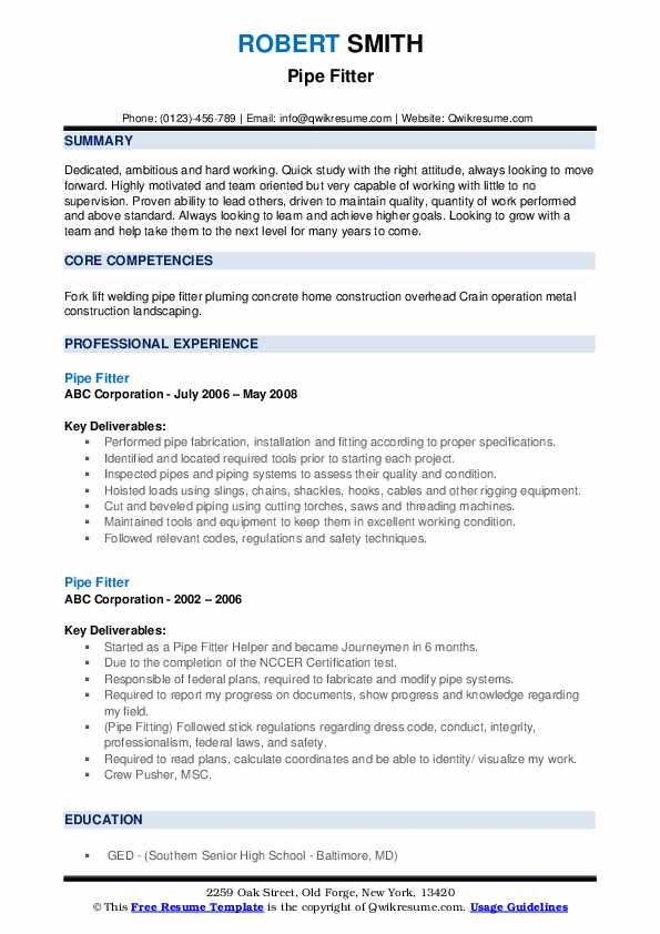 Pipe Fitter Resume example