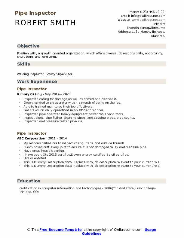 Pipe Inspector Resume example