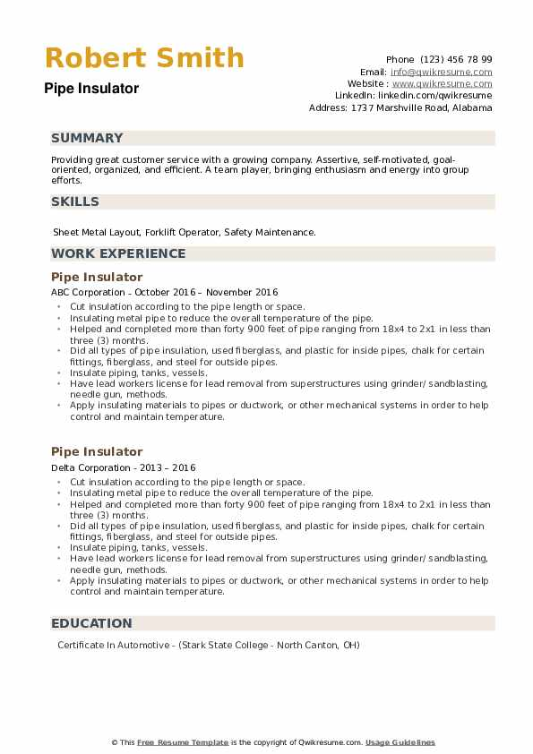 Pipe Insulator Resume example