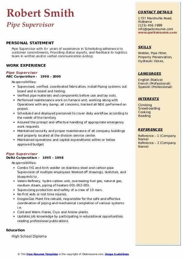 pipe supervisor resume samples  qwikresume