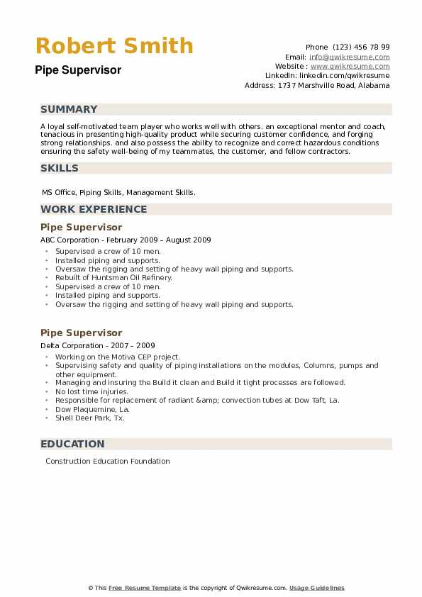 Pipe Supervisor Resume example