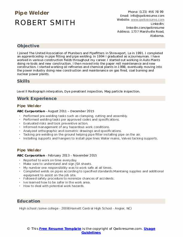 Pipe Welder Resume Samples Qwikresume